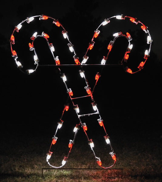 Crossed Candy Canes - Red and White | All American Christmas Co