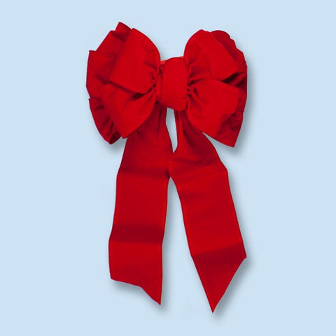 "18"" x 35"" 11 Loop Red Velvet Wired Bow 