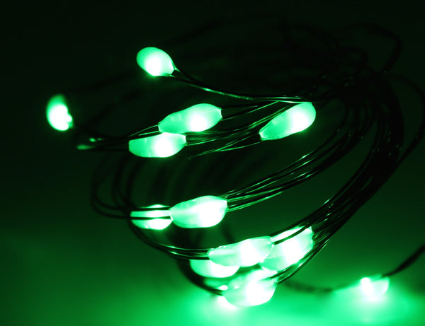 Ultra Thin LED Battery Lights - 18 count - Green | All American Christmas Co