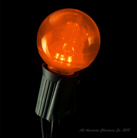 G40 Smooth LED Patio Lights - E-17 - Orange - 25 Pack | All American Christmas Co