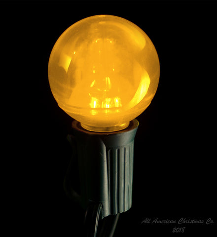 G40 Smooth LED Patio Lights - E-17 - Yellow - 25 Pack