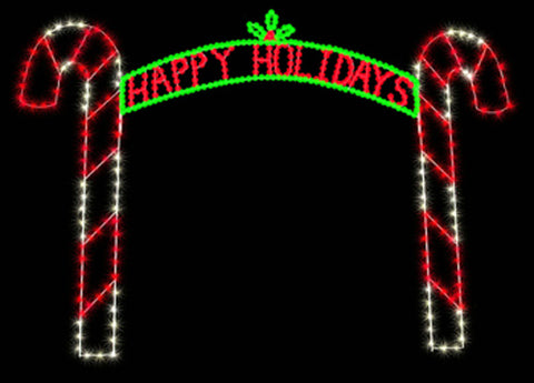 12' Happy Holidays Candy Cane Arch