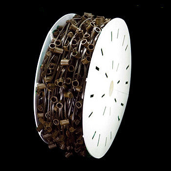 "500' C9 Christmas Light Spool - 15"" spacing - Brown Wire"