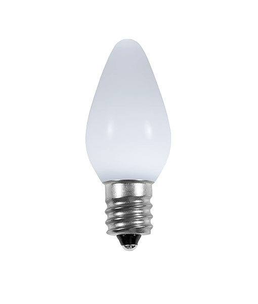 Opaque C7 LED Bulbs - Pure White - 25 Pack | All American Christmas Co