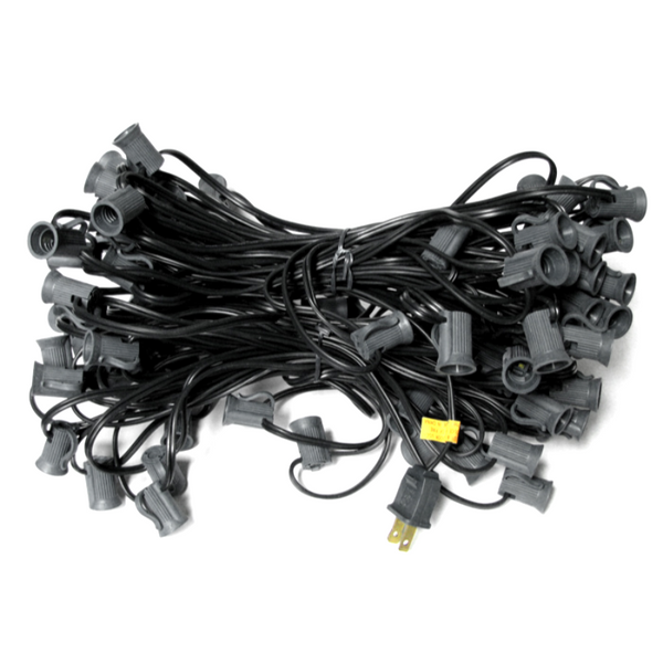 100' C7 Christmas Light String - Black Wire