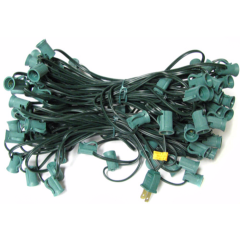 100' C7 Christmas Light String - Green Wire