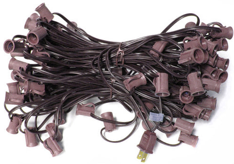 100' C7 Christmas Light String - Brown Wire