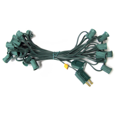 25' C7 Christmas Light String - Green Wire