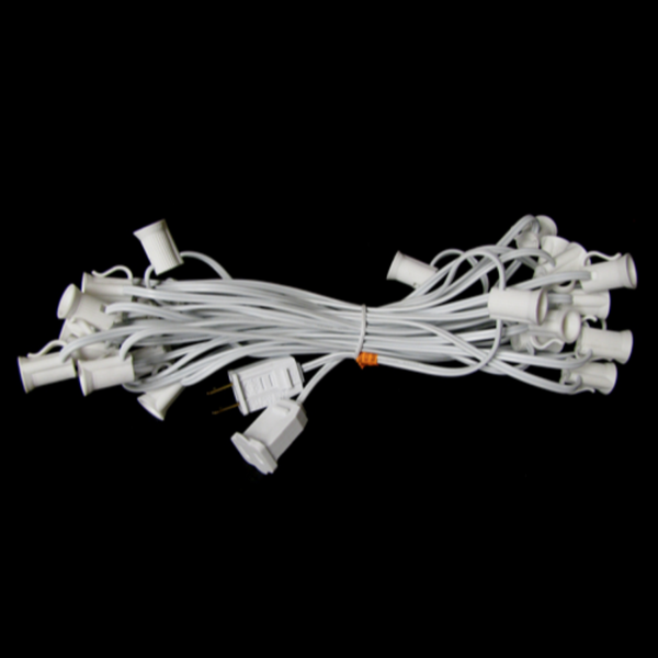 25' C7 Christmas Light String - White Wire