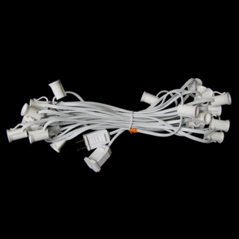 25' C7 Christmas Light String - White Wire | All American Christmas Co