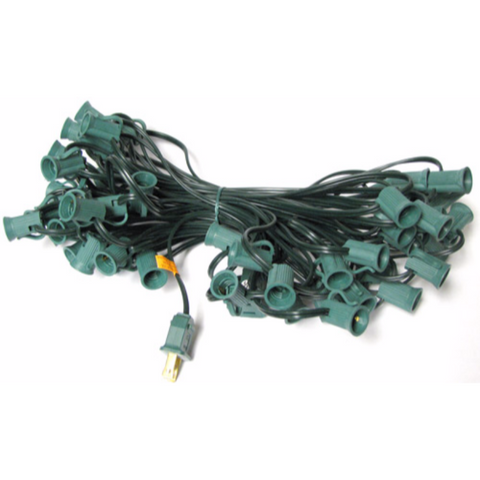 50' C7 Christmas Light String - Green Wire