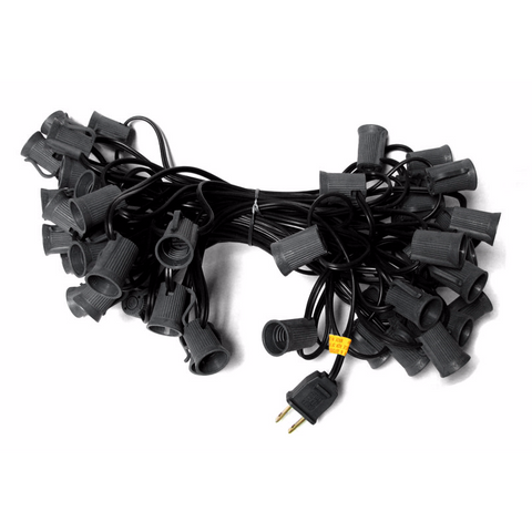 50' C9 Christmas Light String - Black Wire