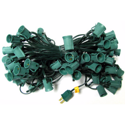 100' C9 Christmas Light String - Green Wire