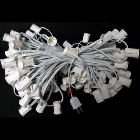 100' C9 Christmas Light String - White Wire