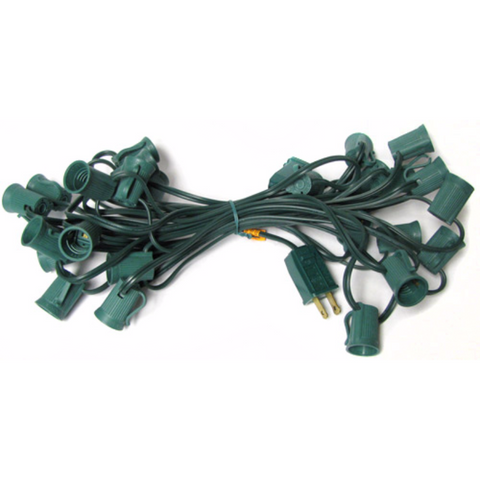 25' C9 Christmas Light String - Green Wire