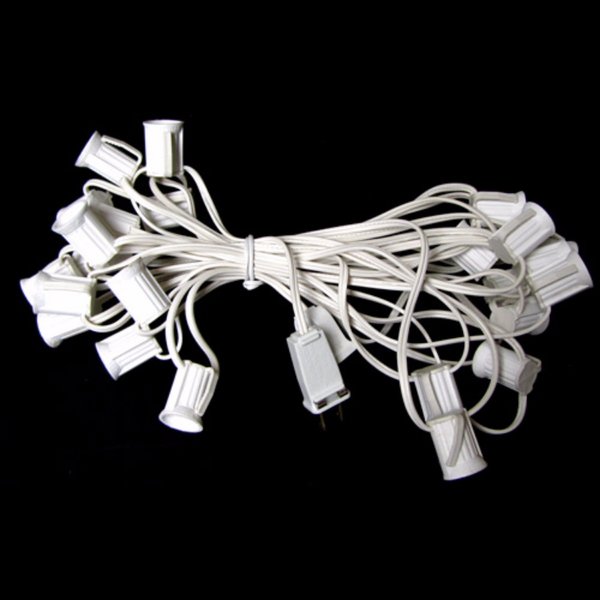 25' C9 Christmas Light String - White Wire