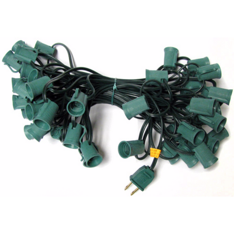 50' C9 Christmas Light String - Green Wire