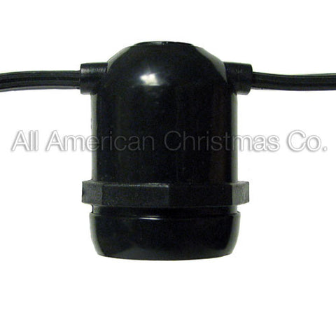 108' Commercial Light String - E-26 - Black Wire | All American Christmas Co
