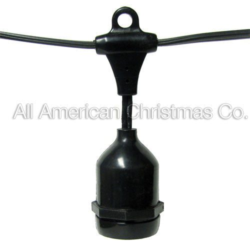 108' Commercial Light String - Suspended Sockets - E-26 - Black Wire | All American Christmas Co