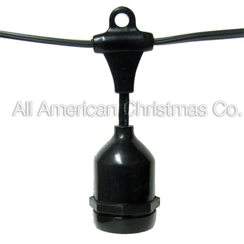 108' Commercial Light String - Suspended Sockets - E-26 - Black Wire