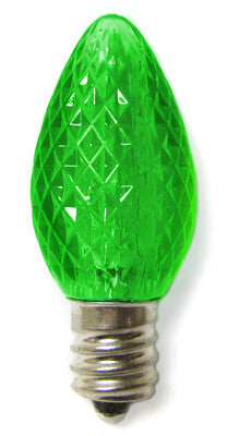 C7 LED Twinkle Bulbs - Green - 25 Pack | All American Christmas Co