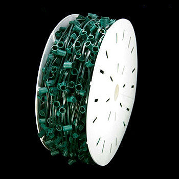 "500' C9 Christmas Light Spool - 18"" spacing - Green Wire - Custom Cut"