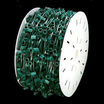 "1000' C7 Christmas Light Spool - 12"" spacing - Green Wire"
