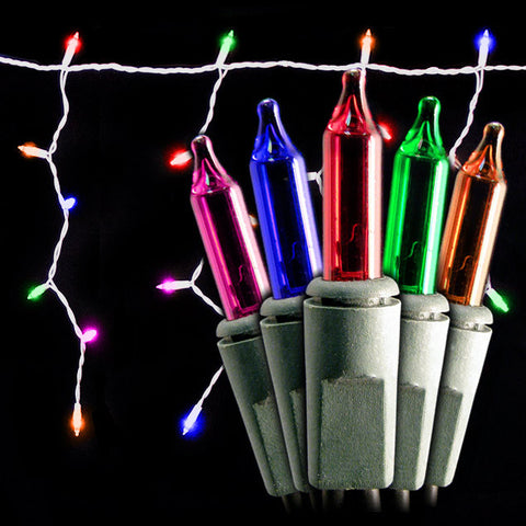 150 Count Icicle Lights - Multi Bulbs - Green Wire - Case of 12 | All American Christmas Co