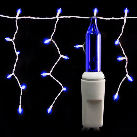 100 Count Icicle Lights - Blue Bulbs - White Wire - Long Lead - Case of 24 | All American Christmas Co