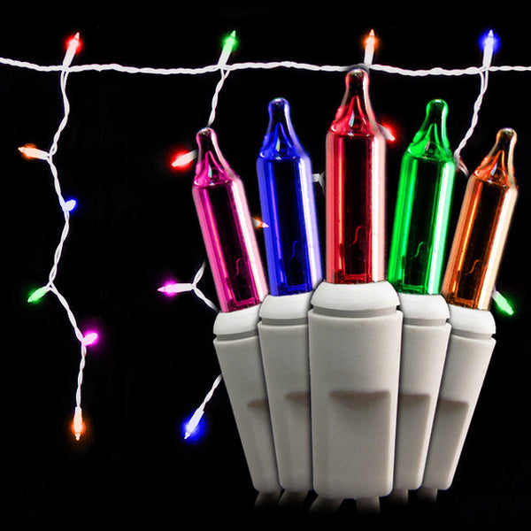 100 Count Icicle Lights - Multi Bulbs - White Wire - Long Lead - Case of 24 | All American Christmas Co