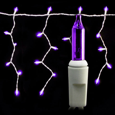 100 Count Icicle Lights - Purple Bulbs - White Wire - Long Lead - Case of 24 | All American Christmas Co
