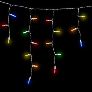 M5 LED Icicle Lights - 100 Count - Multi - White Wire | All American Christmas Co