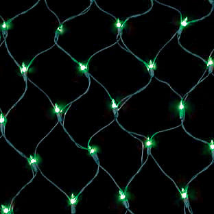 150 Count Net Lights - Green Bulbs - Green Wire - Case of 6
