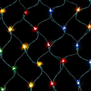 150 Count Net Lights - Multi Color Bulbs - Green Wire - Case of 6