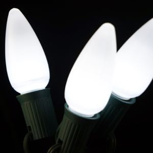 Opaque C9 LED Bulbs - Pure White - 25 Pack | All American Christmas Co