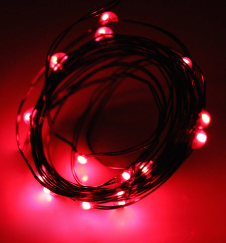 Ultra Thin LED Battery Lights - 18 count - Red | All American Christmas Co