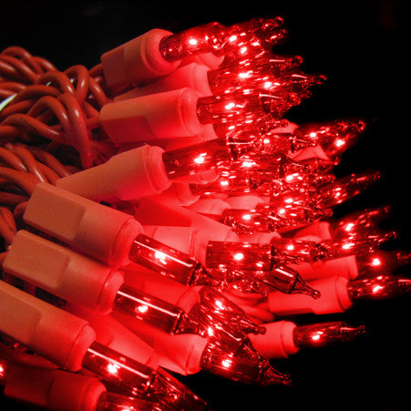 2.5 Inch Spacing - 100 Count Mini Lights - Red Bulbs - Red Wire