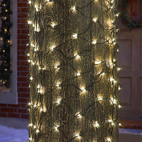 2' x 8' Trunk Wrap - Clear Bulbs - Green Wire | All American Christmas Co