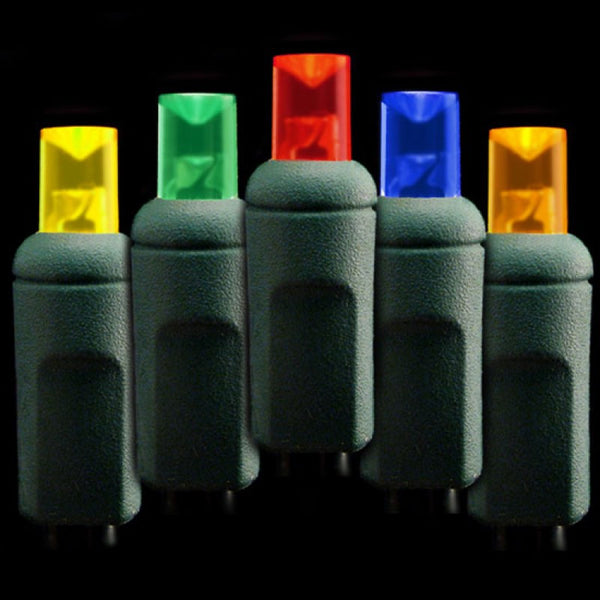 Deluxe Wide Angle LED Lights - 50 count - Removeable Bulbs - Frosted Multi - Green Wire