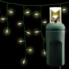 Wide Angle 5MM LED Icicle Lights - 100 Count - Warm White - Green Wire | All American Christmas Co