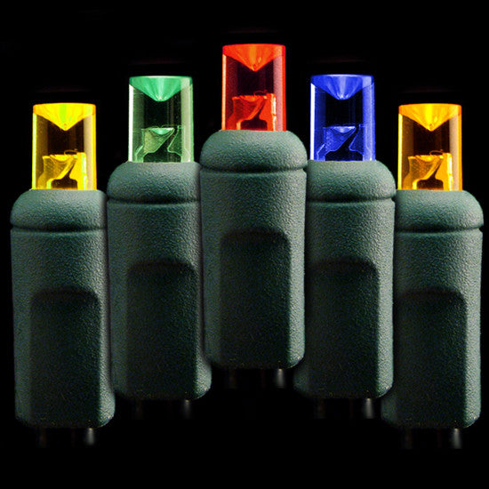 Wide Angle 5mm LED Lights - 70 count - Multi - Green Wire