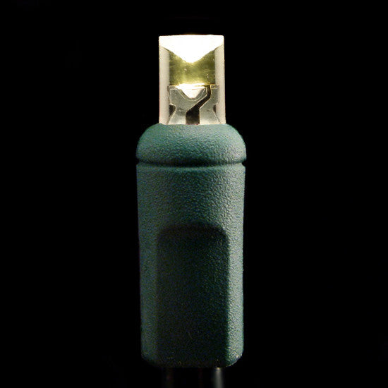 "Wide Angle 5mm LED Lights - 100 count - 6"" Spacing - Warm White - Green Wire"