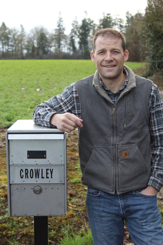 Mr. Crowley standing by his No. 7 Large Steeltech Mailbox
