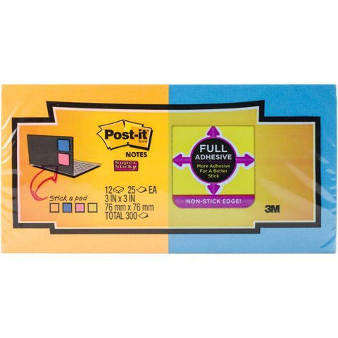 "Post-It Super Sticky Full Adhesive Notes 3""X3"""