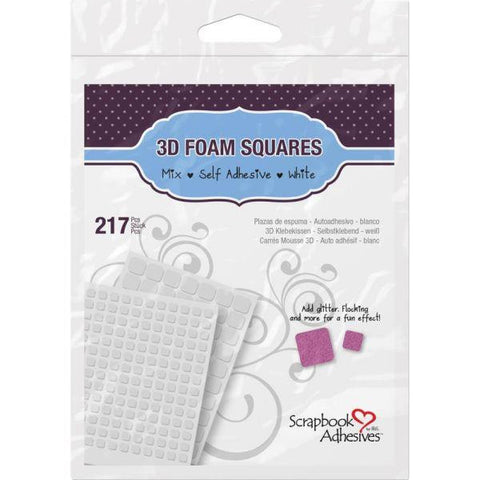 3D Self Adhesive Foam Squares Variety Pack 217/Pkg - white