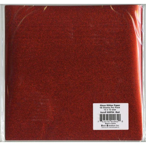 Gloss Glitter Cardstock - Red