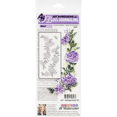Bible Journaling Stamps - Hydrangea Border Set