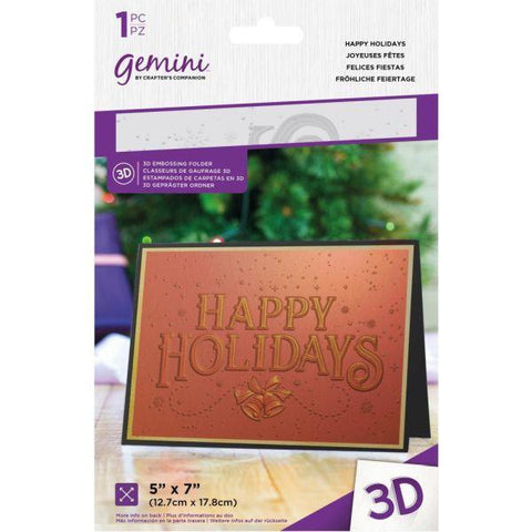Gemini 3D Embossing Folder - Happy Holidays