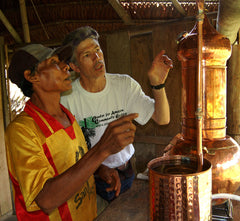Campbell and Manuel distilling copal resin at Brillo Nuevo. Photo by Amazon Ecology.