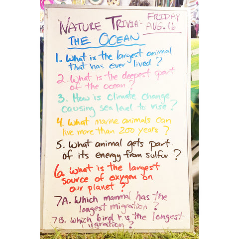 Nature Trivia Quiz (Day 3) at the CACE booth at the Philadelphia Folk Festival 2019
